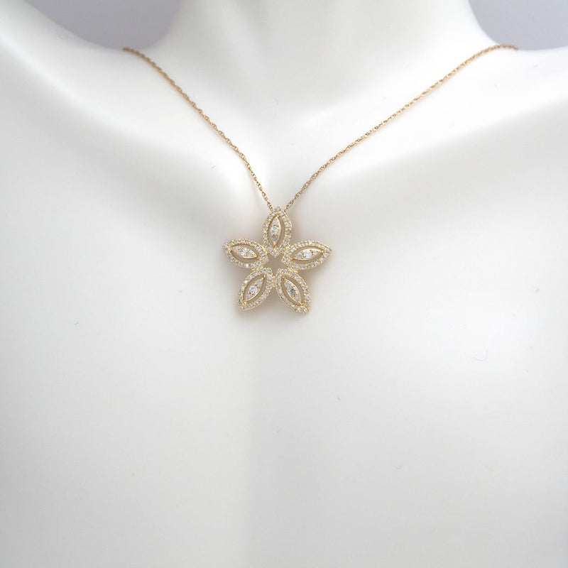 14K Yellow Gold Diamond Petals Necklace