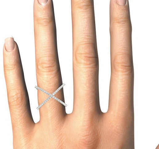 14K Diamond Open Concept Criss Cross Ring - Crestwood Jewelers