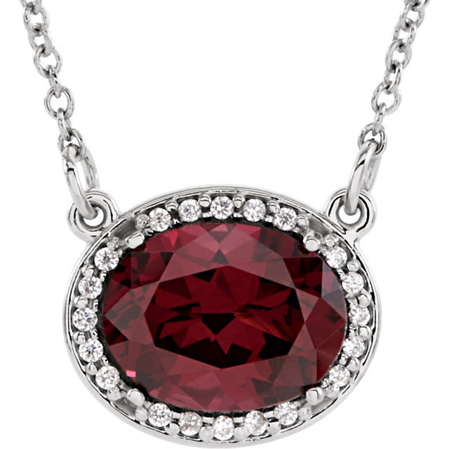 Garnet Diamond Halo Necklace - Crestwood Jewelers