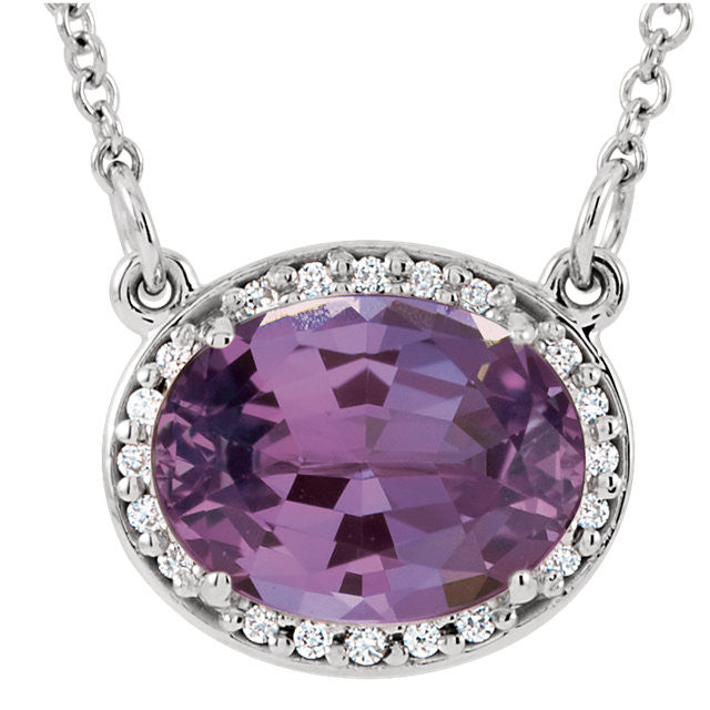 Amethyst and Diamond Oval Halo Necklace - Crestwood Jewelers