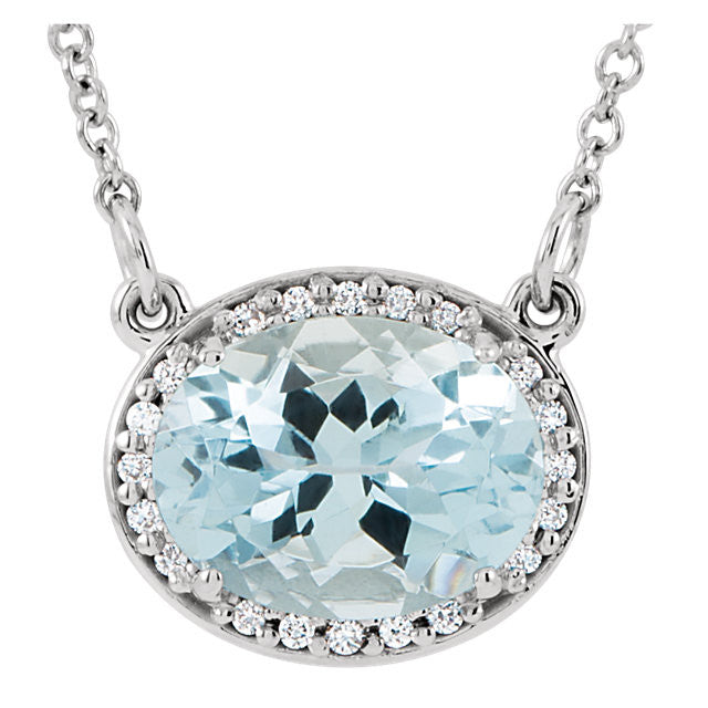 Aquamarine and Diamond Oval Halo Necklace - Crestwood Jewelers