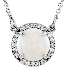 "14K White Opal & .05 CTW Diamond 16"" Necklace - Crestwood Jewelers"