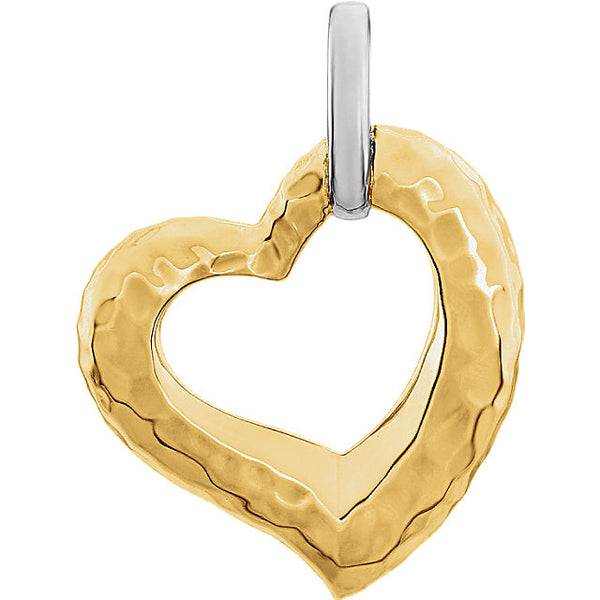 14K Two Tone Hammered Texture Heart - Crestwood Jewelers