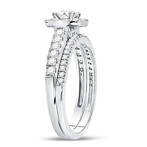 14k White Gold Round Diamond Halo Bridal Wedding Ring Set 1 Cttw - Crestwood Jewelers