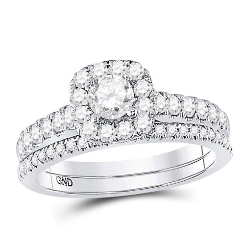 14k White Gold Round Diamond Halo Bridal Wedding Ring Set 1 Cttw