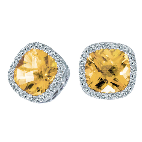 14K White Gold Cushion Citrine & Diamond Earrings