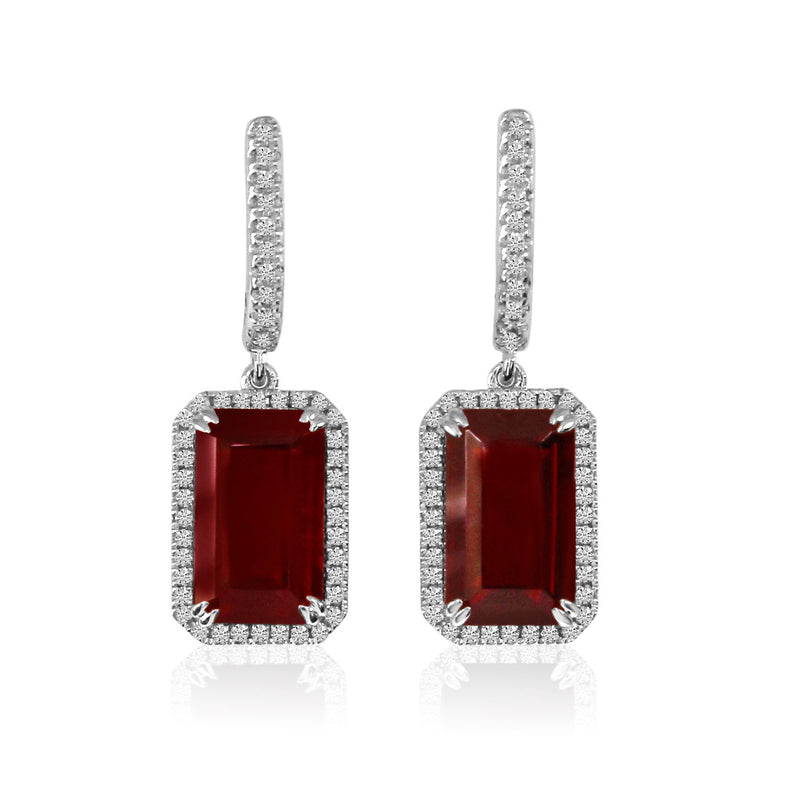 14K White Gold Garnet and Diamond Earrings - Crestwood Jewelers