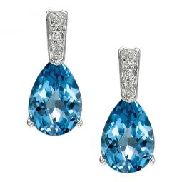 14K White Gold Blue Topaz & Diamond Earrings