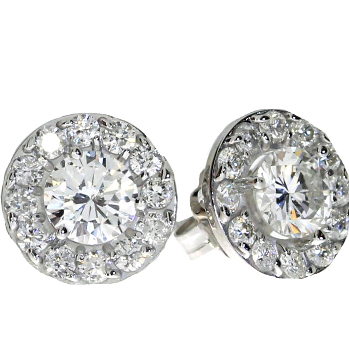 14K White Gold 1.02 ct Diamond Halo Stud Earrings - Crestwood Jewelers