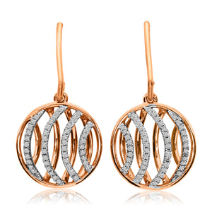 14K Rose Gold Diamond Disc Fashion Earrings - Crestwood Jewelers