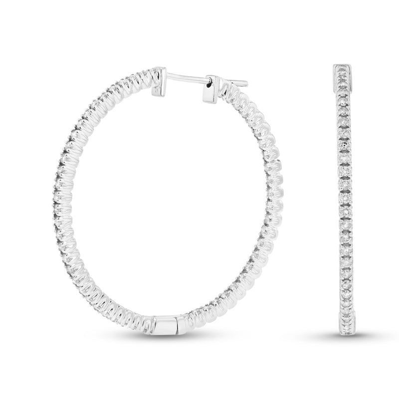 14k Gold Hoop Earrings with 1.10cttw of Diamonds. 1 1/4 Inches in Diameter - Crestwood Jewelers