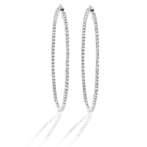 14k Gold Hoop Earrings with 3.00cttw of Diamonds (2 inches in diameter)