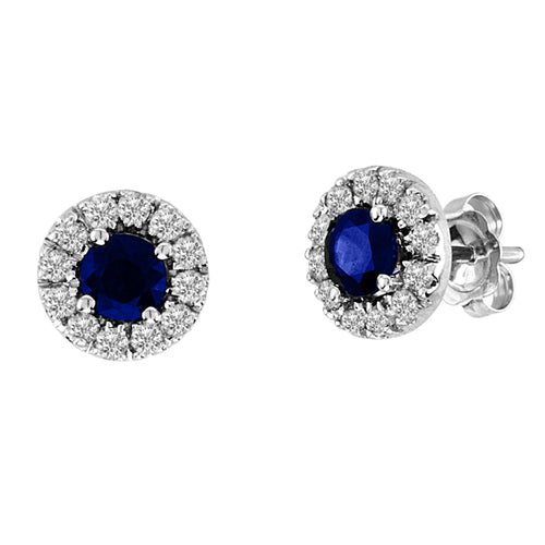 0.93cttw Sapphire and Diamond Halo Earring set in 14k Gold