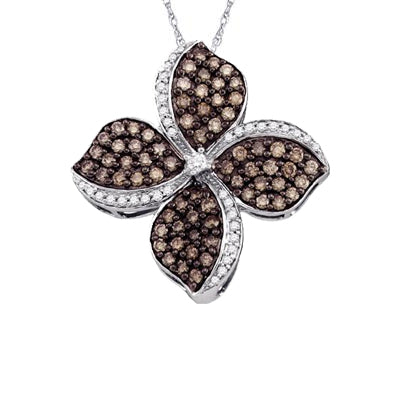 10K WHITE GOLD ROUND BROWN DIAMOND FLOWER CLUSTER PENDANT 1.00 CTTW - Crestwood Jewelers