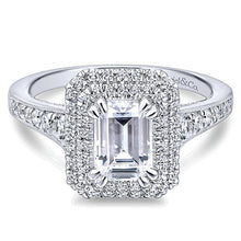 Gabriel & Co. 14K Jasmine Emerald Cut Diamond Halo Engagement Ring - Crestwood Jewelers
