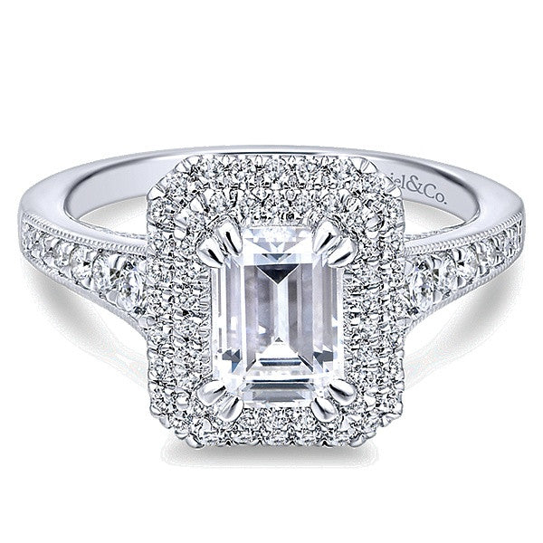 Gabriel & Co. 14K Jasmine Emerald Cut Diamond Halo Engagement Ring