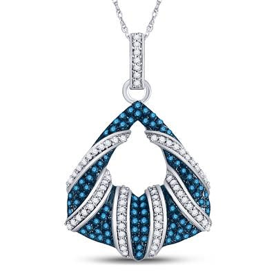10K WHITE GOLD ROUND BLUE DIAMOND FASHION PENDANT 1/3 CTTW