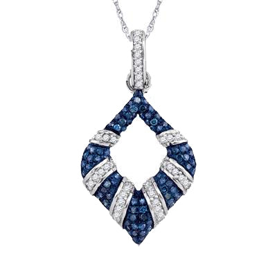 10K WHITE GOLD ROUND BLUE DIAMOND TAPERED FASHION PENDANT 1/3 CTTW - Crestwood Jewelers