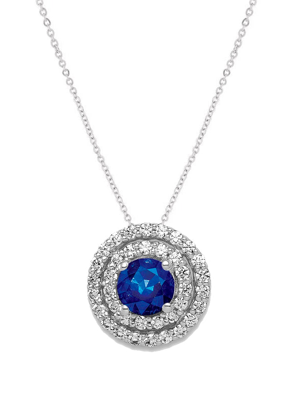 14k White Gold Diamond And Sapphire Pendant - Crestwood Jewelers