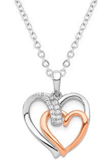 14k White And Rose Gold Diamond Double Heart Pendant - Crestwood Jewelers