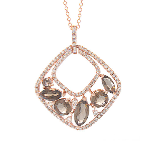 14K Rose Gold 2.51cttw Diamond and Smokey Quartz