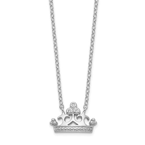 Sterling Silver Rhodium-plated CZ Crown with 2in ext. Necklace 18""