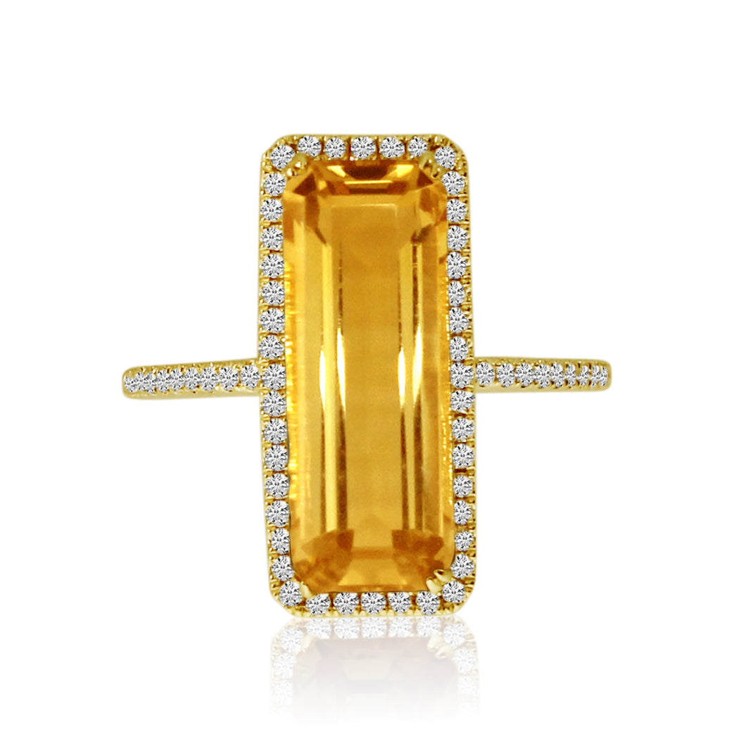 14K Citrine Diamond Ring