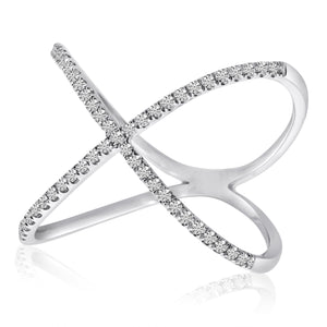 14K White Gold Negative Space X Diamond Fashion Ring - Crestwood Jewelers