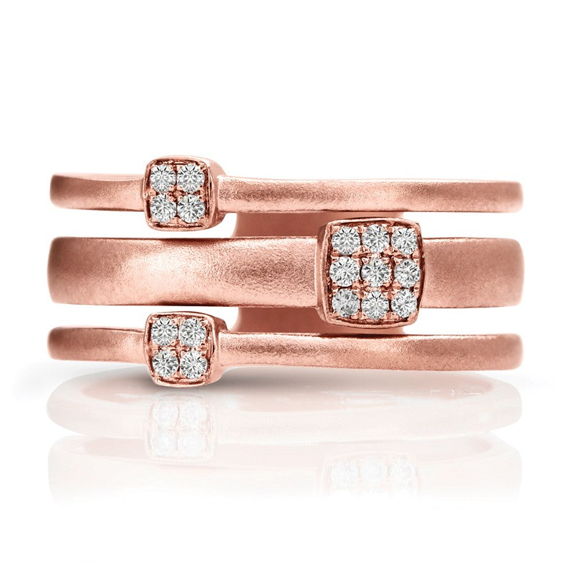 Couture Rose Gold Satin Pave Diamond Ring - Crestwood Jewelers
