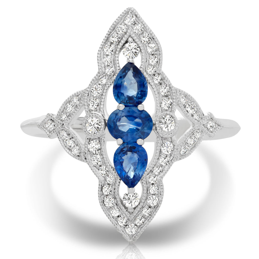 14K Couture Diamond Sapphire Ring