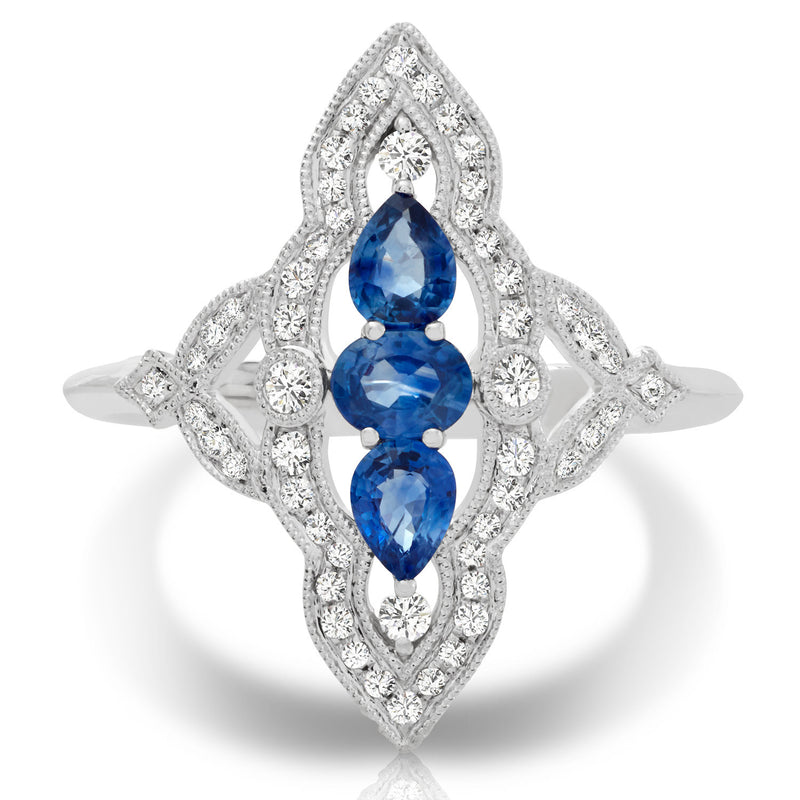 14K Couture Diamond Sapphire Ring - Crestwood Jewelers