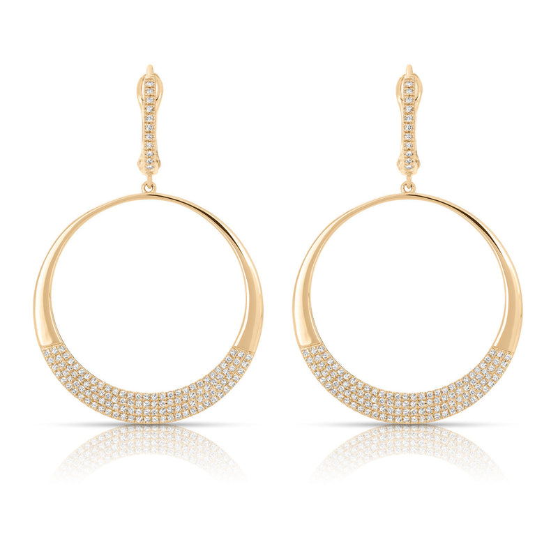 14K Couture Diamond Pave Circle Earrings - Crestwood Jewelers