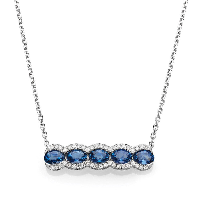 14K White Gold Couture Sapphire & Diamond Bar Necklace - Crestwood Jewelers