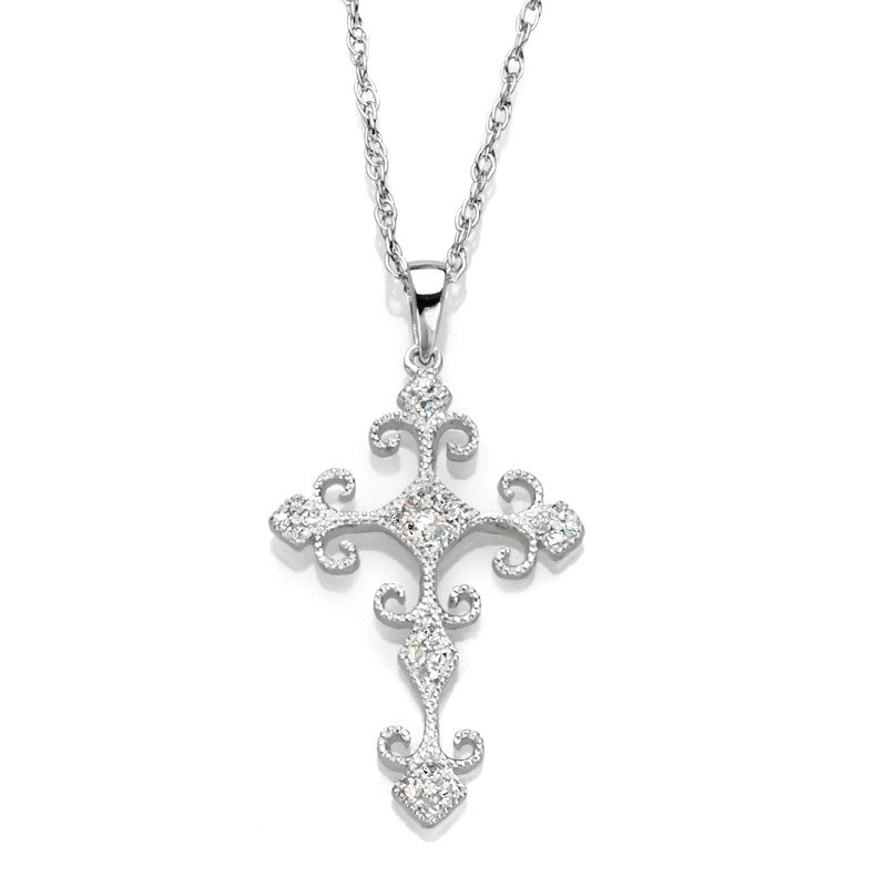 14K White Gold Couture Diamond Cross