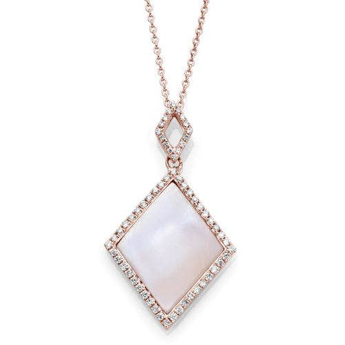 14K Rose Gold Pearl & Diamond Necklace