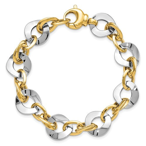 14k Two-tone Polished Fancy Link Bracelet