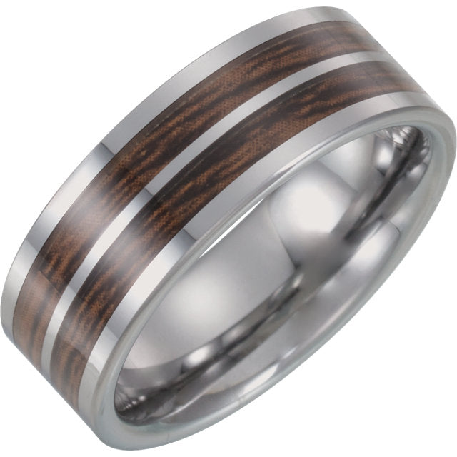 Tungsten Flat Band with Carbon Fiber & Wood Inlay - Crestwood Jewelers