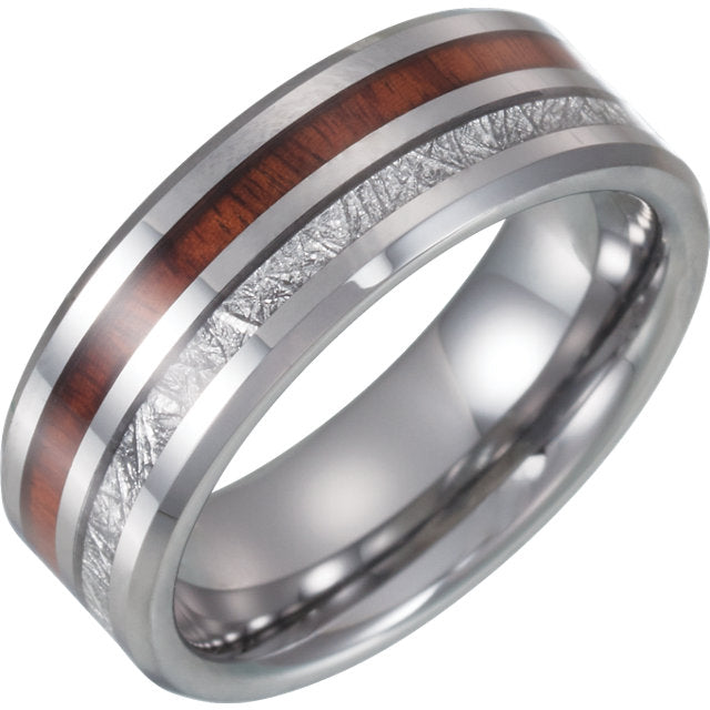 Tungsten Band with Imitation Meteorite & Wood Inlay - Crestwood Jewelers