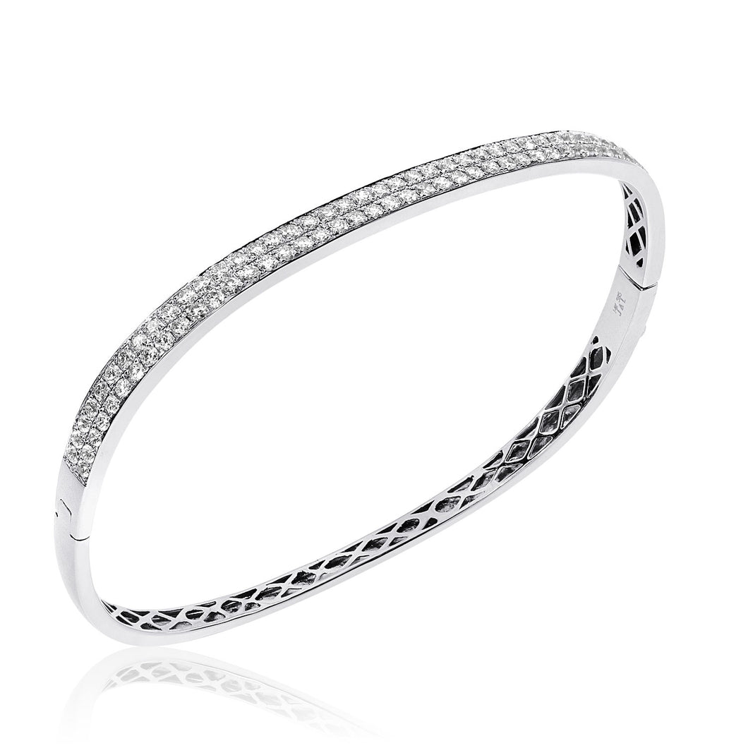14K White Gold Double Row Diamond Bangle Bracelet