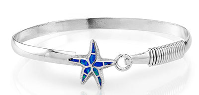 Sterling Silver Created Blue Opal Starfish Bangle - Crestwood Jewelers