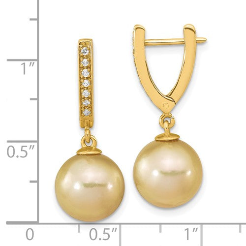 14K South Sea Pearl & Diamond Earrings