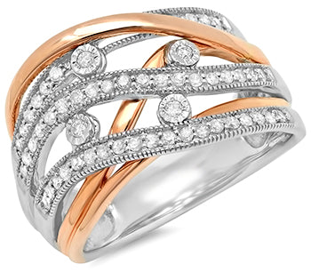 10KT White/Rose Gold .40 Ct. TW Diamond Fashion Ring - Crestwood Jewelers