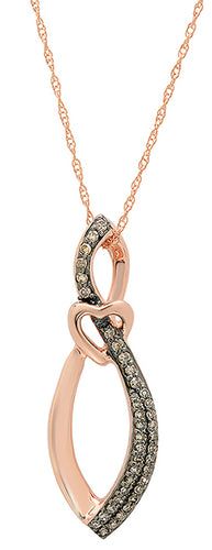 10KT Rose Gold .20 Ct. TW White/Chocolate Diamond Necklace With 18