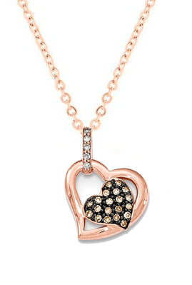 14K Rose Gold Champagne And White Diamond Pavé Hearts Pendant - Crestwood Jewelers