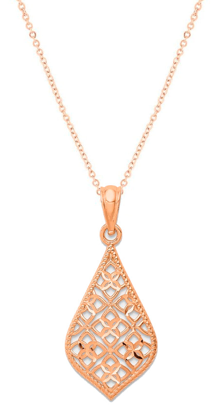 14K Rose Gold Diamond Cut Dangle Pendant