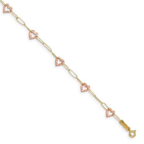"14k Two-Tone Adjustable Heart With 1"""" Extension Anklet - Crestwood Jewelers"
