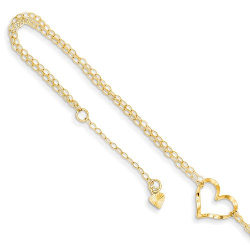 "14k Double Strand Heart 9"" With 1"" Ext Anklet - Crestwood Jewelers"