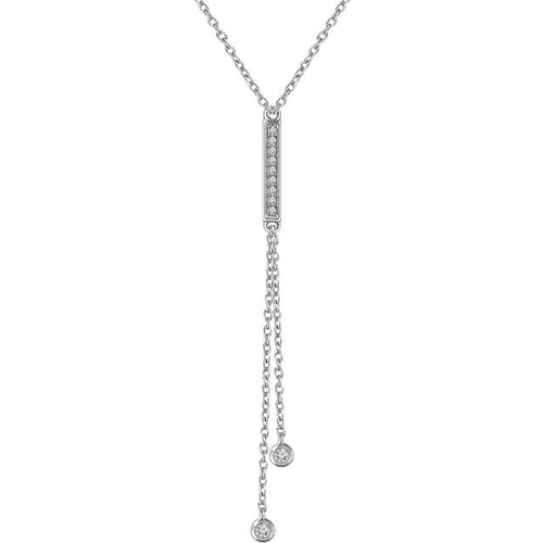 "14K 1/10 CTW Diamond Bar Y 16-18"" Fashion Necklace - Crestwood Jewelers"