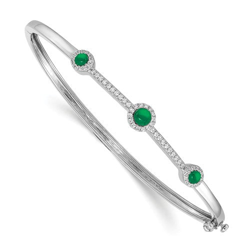 14k White Gold Diamond And Cabachon Bangle