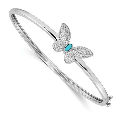 14k White Gold Diamond And Turquoise Butterfly Bangle